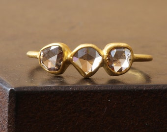 Triple Rose Cut Champagne Diamond Ring