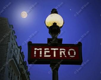 Moonlight Metro Paris France Metro Sign France CHOOSE NIGHT or DAY Fine Art Photography Photo Print