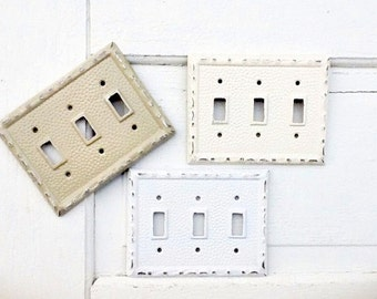 Triple Light Switch Cover, Metal Wall Decor, Creamy White, Cast Iron Lighting Outlet Cover, New Home, Remodel, Style #119