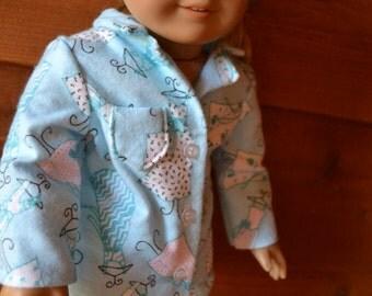 18 inch Doll Clothes - Dress Closet Pajamas - Fashion Blue Dressform PJs - BLUE WHITE - fits American Girl