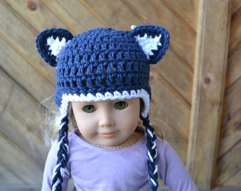 18 inch Doll Clothes - Crocheted Beanie with Ear Flaps - Artic Wolf - MADE TO ORDER - fits American Girl