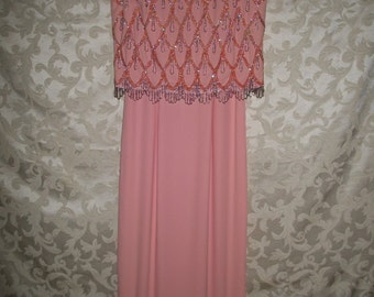 Vintage 1960s Pale Pink Beaded Dress Gown By Smart Miss