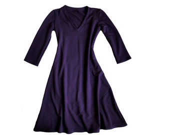 Long organic dress, lbd, organic clothing for women, custom dress, v neck dress, organic cotton tunic