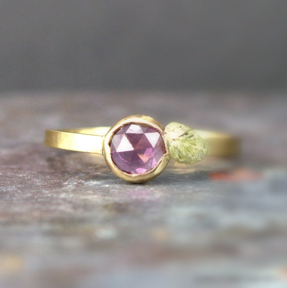 Pink Sapphire Ring -Rose Cut Sapphire Engagement Ring - 14k Flower Ring