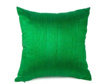 "Emerald Green Silk Pillow Cover - 18"", 20"", 12"" x 20"" and 12"" x 24"" - Green Silk Pillow Cover - Emerald Pillow Cover"