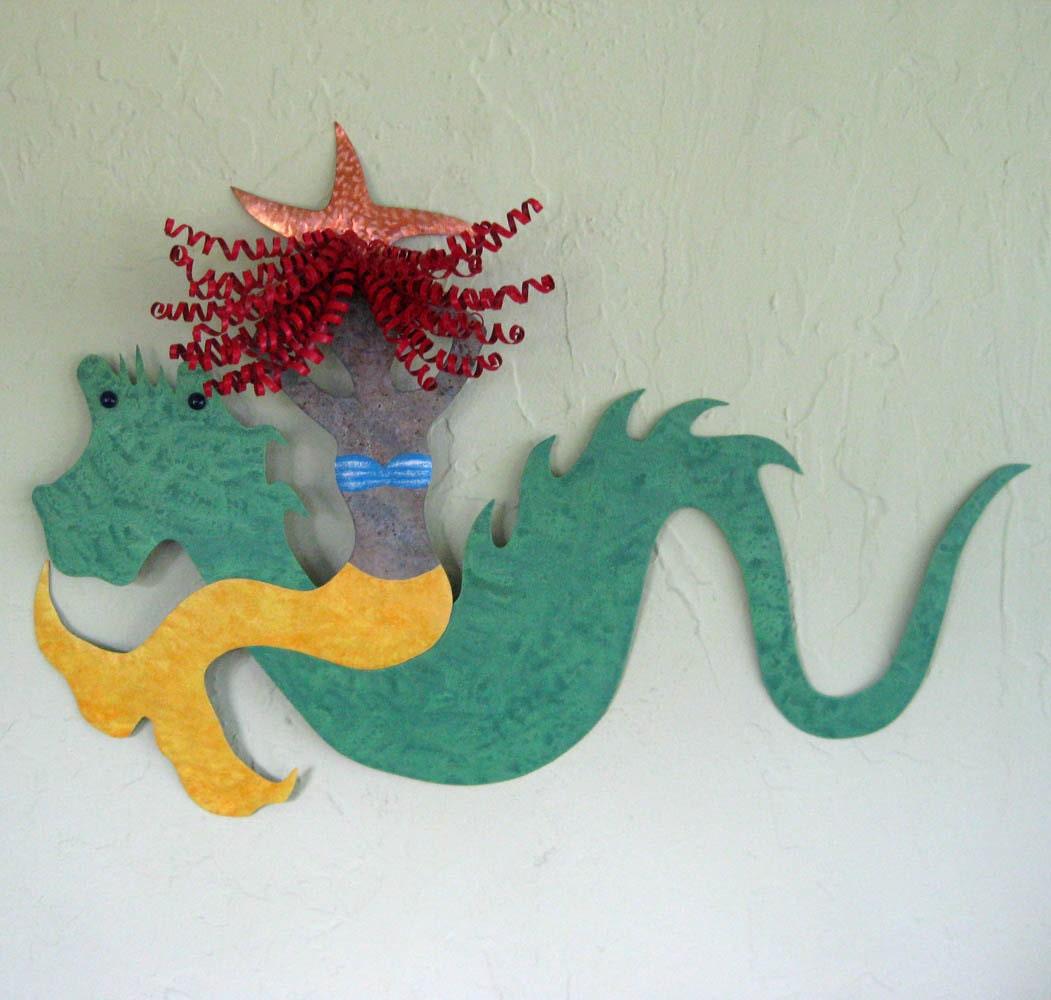 Metal Wall Art Mermaid Sea Serpent Sculpture Recycled Metal