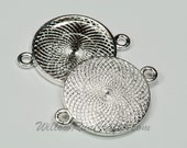 10 Pack 25mm Circle Pendant Trays Silver Plated, Double Connector Bezel (19-16-416), Blank Bezel Cabochon Setting