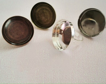 40 pcs 25mm Circle Ring Blanks 25mm, Adjustable Ring Trays. Pick from Silver, Antique Bronze and Antique Copper