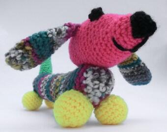 Colourful Dachshund Crochet Pattern, Amigurumi Dachshund, Crochet Pattern PDF