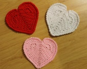 Heart Shaped Coasters Hand Crocheted in Red, White and Pink