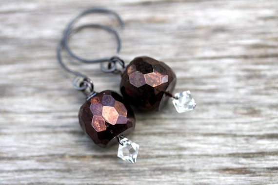 "Cinnamon Glass Sterling Silver Brass Earrings - ""Gingerbread Dreams"""