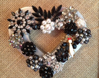 Framed vintage jewelry heart