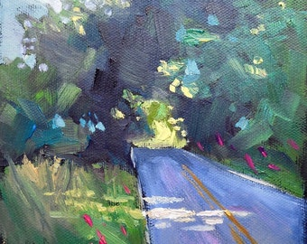 "Small Landscape Oil Painting,  ""Country Roads"" by Carol Schiff, 6x6x1.5"" Original Oil Painting"