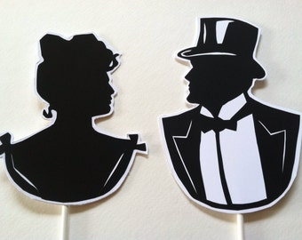 Victorian Couple Wedding Cake Topper Silhouette, Hand Cut Paper