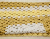 Vintage Afghan Throw Blanket Yellow, Mustard and White