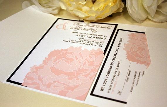 SAMPLE Lacy Peony Blossom Pocketfold Wedding Invitation, Pink, White, Cream, Hot Pink, Wedding Invite, Rustic and Modern