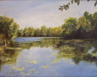 "NH river painting, original, peaceful, large,   12"" x 16, FREE Shipping!"