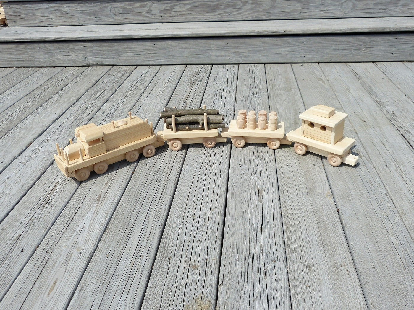 Wooden Toy Trains : Handmade wooden toy train set wood toys adirondack railroad