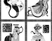 Poison Apple Prints, Black and White- BOGO 1/2 OFF