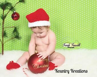 Newborn Santa Hat, Santa Hat, Baby Santa Hat, Baby Christmas Hat, Crochet Santa Hat,  Christmas Outfit, Santa Claus,  (Ready to Ship)