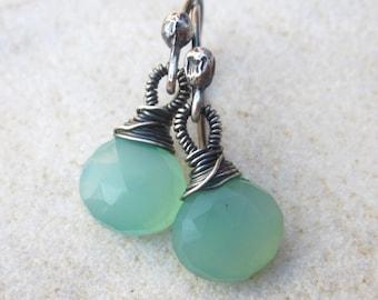 Light blue chalcedony, earrings, sterling silver gemstone earrings, dainty dangle earrings, simple earrings, minimalist earrings