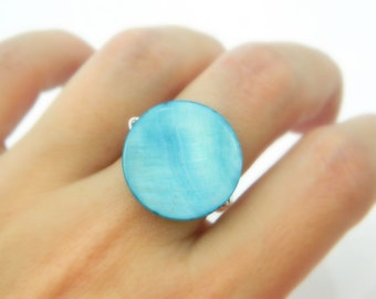 Mother of Pearl Ring, Jewelry Rings, Blue Ring, Wire Wrapped Ring, Turquoise Ring, Aqua Ring, Aquamarine Ring, Classic Jewel, Made to Order