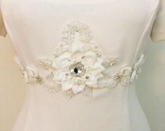 Ivory Beaded Flower Belt Bridal Wedding Sash Bridal Flower 3D Applique