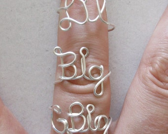 GBig, Big and Little Rings, Wire Word Ring Wire Word Ring Big and Lil Sorority Set Wire Word Rings Adjustable Personalized Color