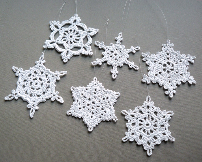 6 crochet christmas decorations large snowflake assortment