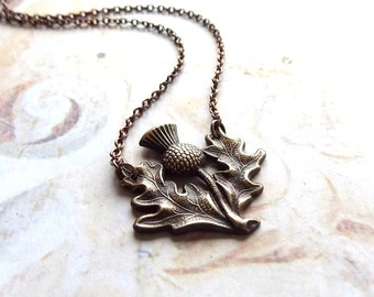 Brave Heart - Antiqued Brass Scottish Thistle Pendant and Copper Chain Handmade Necklace