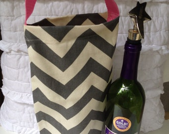 Eco Friendly Canvas Wine/Soda/Shopping Tote ~ Gray Chevron