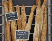 French Baguettes, Paris Photography, Paris Boulangerie, Chalkboard Menu, kitchen wall art, brown wall art, Paris food photo