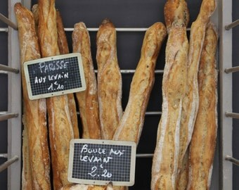 French Baguettes, Paris Photography, Paris Boulangerie, Chalkboard Menu, kitchen wall art, brown wall art, Paris food photo