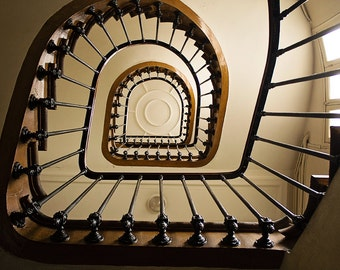 Paris Photography, St Germain de Pres, Paris apartment stairs, architecture, chocolate brown, Paris Decor, Classic Paris, French Wall Art