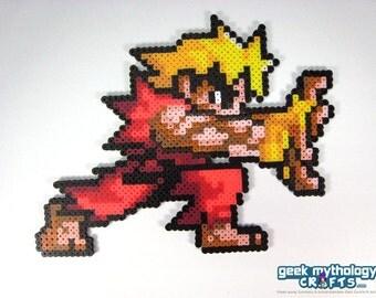 Ken Street Fighter Pocket Fighter Perler Bead Sprite - Hadoken Pose