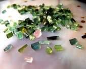Tiny Tourmaline crystals - lot of five or ten green blue pink accent stone for wire wrap or vial necklace  - small tiny specimens itty bitty