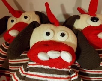 Sock Monster, Sock Creature, Spiky Tail Monster, Chocolate Peppermint Stripes, Stuffed Sock Monster, Spiney Monster, Sock Plush Doll Toys