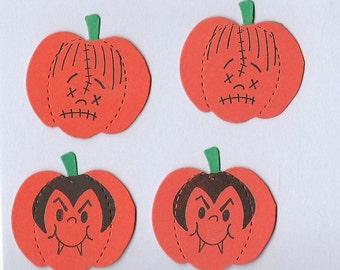 Lot of 4 Monster Faces #1 Pumpkins Die Cuts