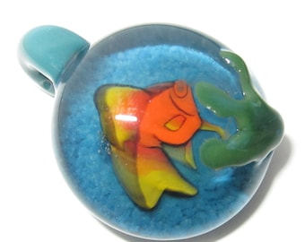 Goldfish Swimming In Blue Frit Water - Handblown Boro Glass Millifiori Pendant