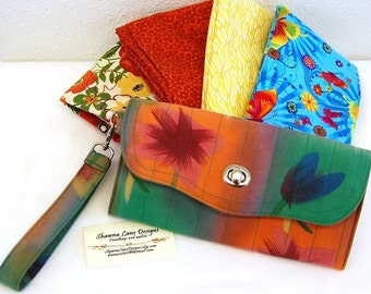 Large wallet with bonus checkbook cover, YOU CHOOSE FABRIC, made to order wallet, organizer wallet, womens wallet, cell phone wallet