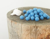 Blue Felted Beads, Baby Blue Felt Wool Balls, Needle Felting Sea Nautical Beach Shell Crafting