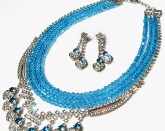 Blue rhinestone vintage aquamarine briolette glass necklace and heart earrings, handmade one of a kind