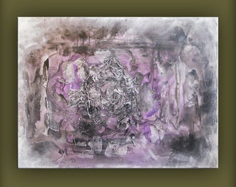 abstract art violet purple textured original painting  22 x 28