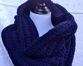 Chunky Cowl Navy Blue/ Warmer/ Snood - Unisex - Reversible - Hand Knit - Christmas Xmas Gift - Made to order