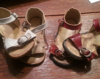 vintage Antique Leather child's shoes sandals red white girls children
