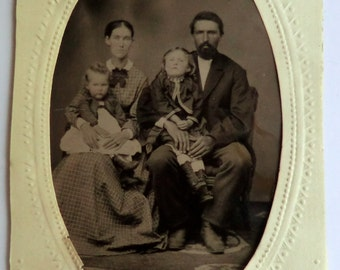 Tintype Photo 2 Children Mother Father Family Portrait ca 1870