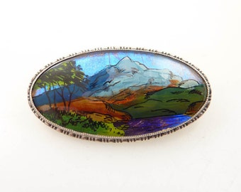 1930's Antique English .920 Silver Reverse Painted Lush Canyon Scene Brooch