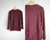 vintage '90s maroon FUZZY MOHAIR oversized POCKET sweater. size m l.