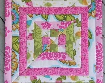Small Quilted Table Topper / Table Mat 12-inch Square