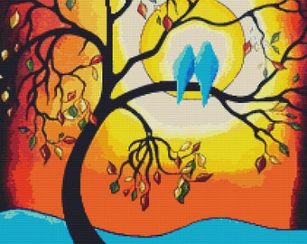 Modern Cross Stitch Kit By Helen Janow Miqueo ' Colors of the Season ' Tree of Life wall art